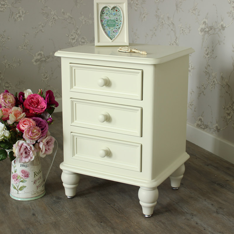 Florence Range - Cream 3 Drawer Bedside Chest