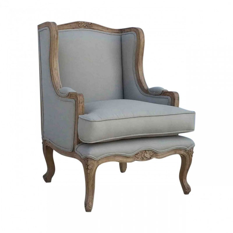 French Wing Upholstered Armchair Linen Traditional NEW  : french linen wing arm chairMM21966 from www.50han.com size 800 x 800 jpeg 46kB