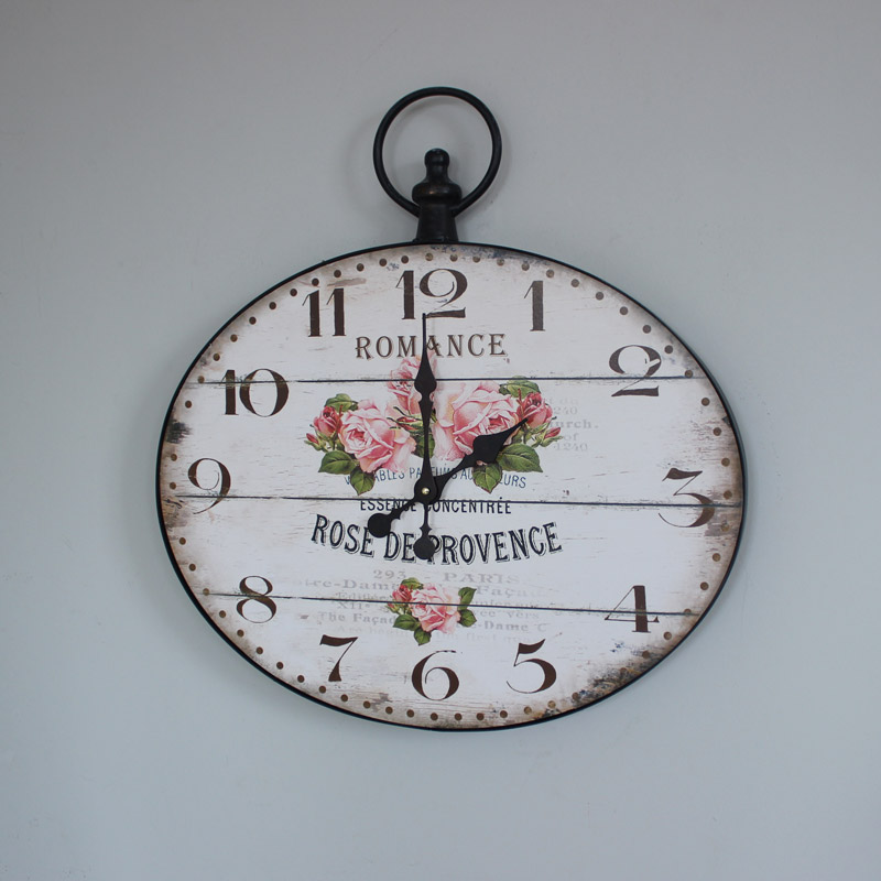 Large French Style Rose Wall Clock