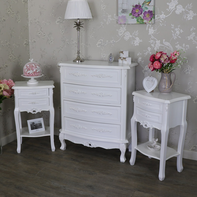 Bedroom Set, Chest of Drawers & 2 Bedside Tables - Rose Range