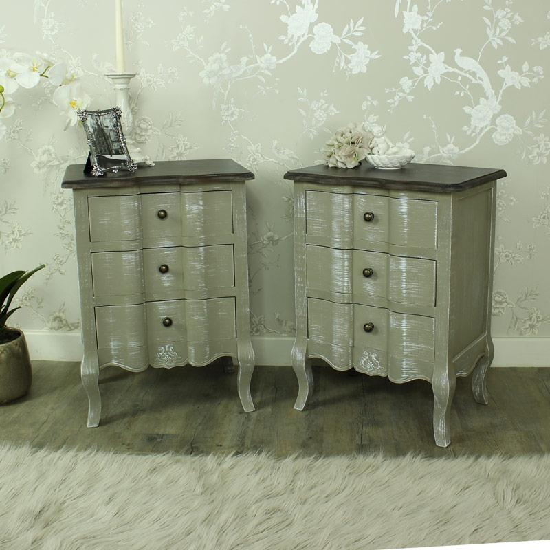 Furniture Bundle Pair Grey Bedside Chests Shabby Vintage Chic Bedroom Set Ebay