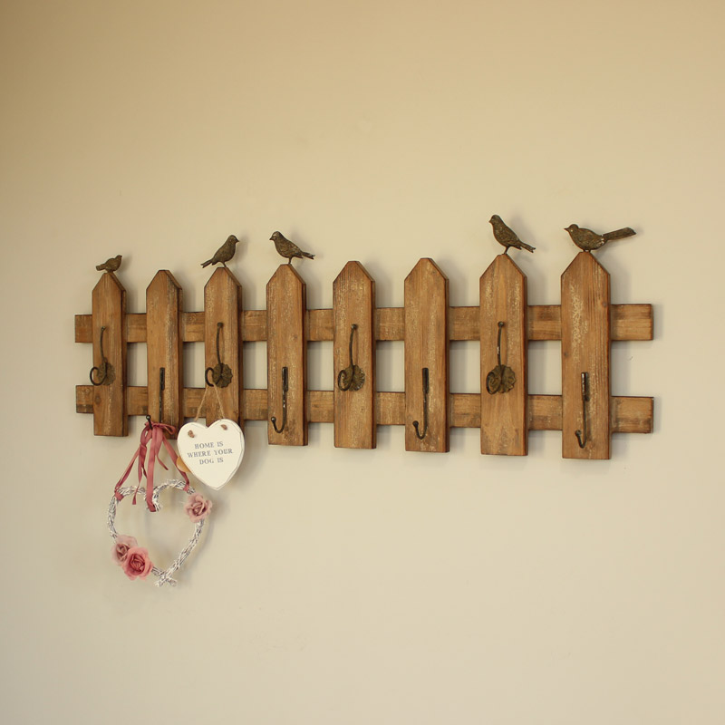 Extra Long Garden Fence Style Wall Coat Hook Rack
