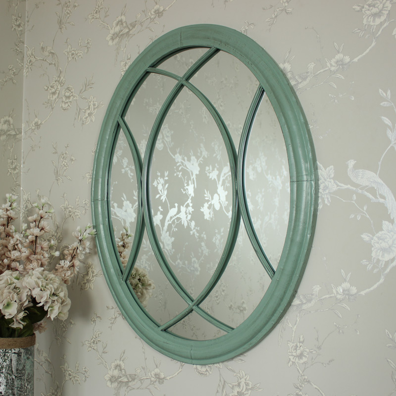Large Oval Green/Duck Egg Blue Wall Mirror