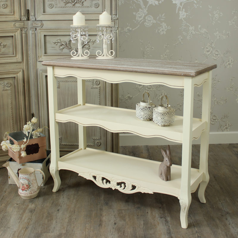 Cream 3 Shelf Hall Console Table - Georgette Range
