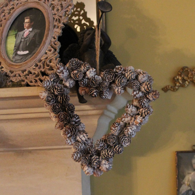 Glitter Pine Cone Christmas Heart Wreath