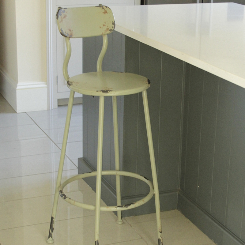 Green Distressed Metal Bar Stool Melody Maison 174