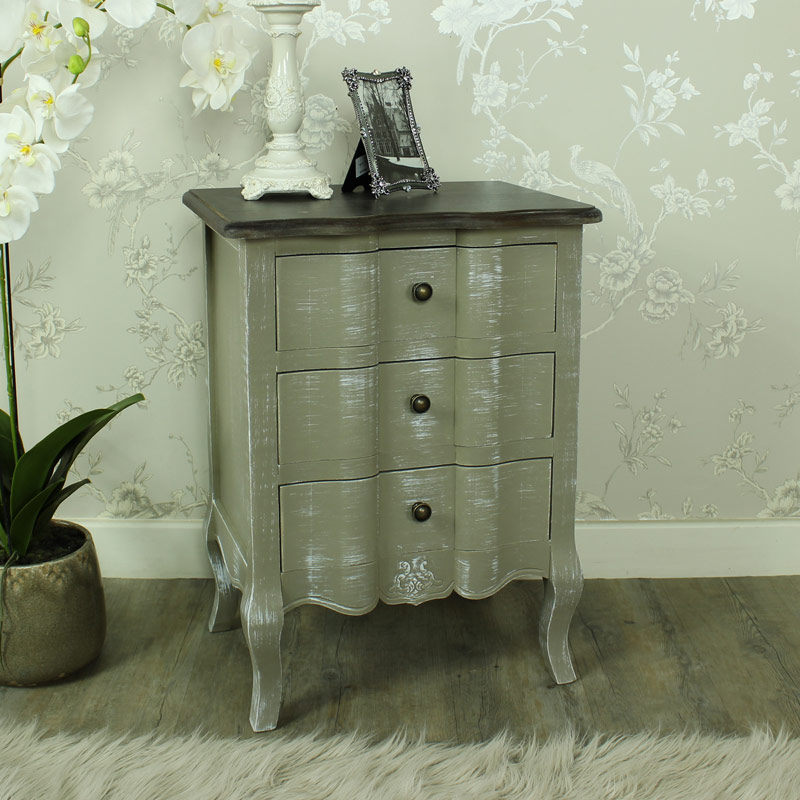 Grey Shabby Chic Bedroom: French Grey 3 Drawer Bedside Table Chest Shabby Vintage