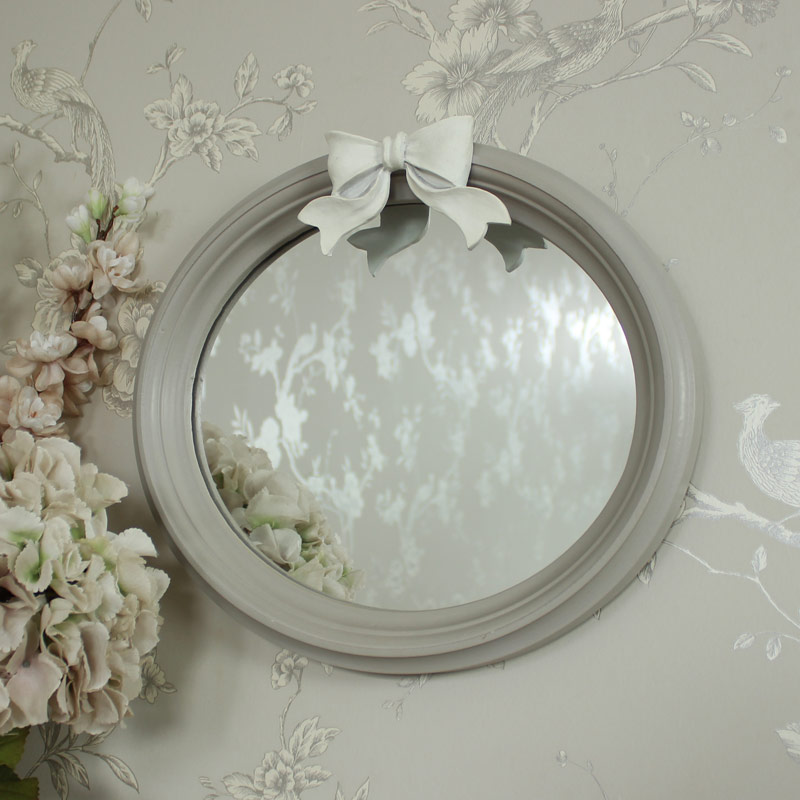Grey Oval Bow Mirror