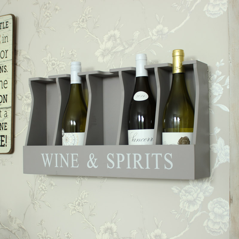 Grey Wooden Wine And Spirits Wall Storage Unit