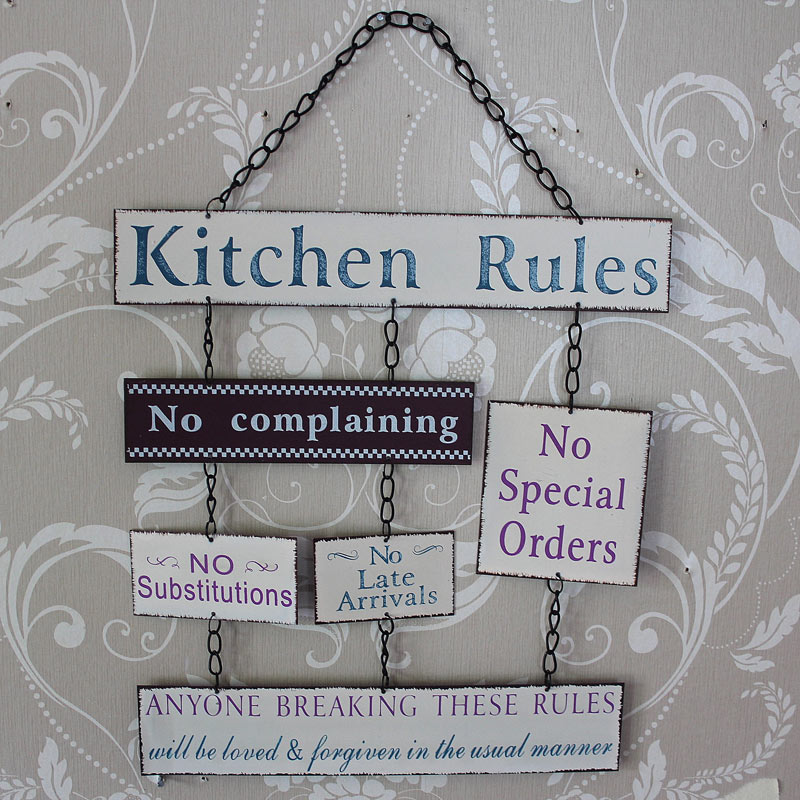 Kitchen Rules Sign: Hanging 6 Piece 'Kitchen Rules' Sign