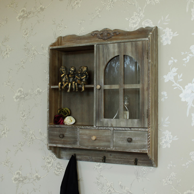 Heavy distressed wooden wall cabinet with hooks melody Distressed wall cabinet for bathroom