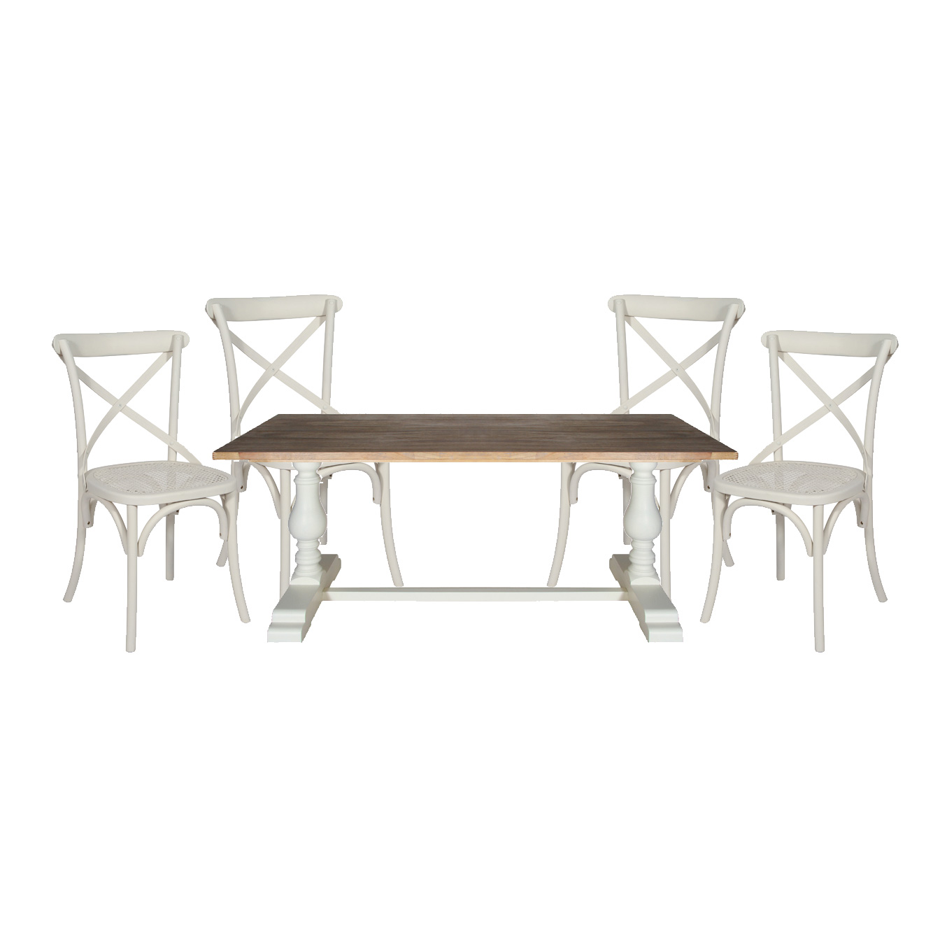 Heritage Range - Furniture Bundle, Antique White Oblong Dining Table and 4 Dining Chairs