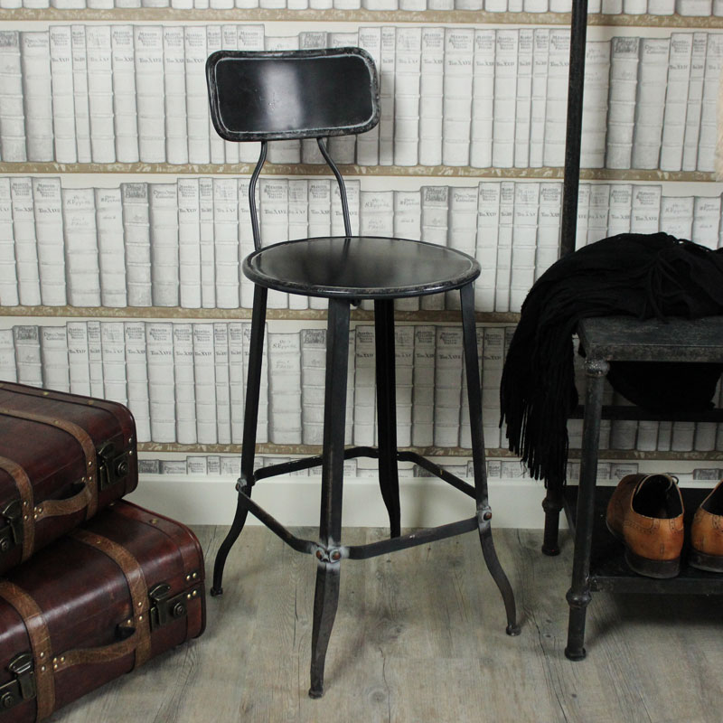 Industrial Range - Black Metal Bar Stool