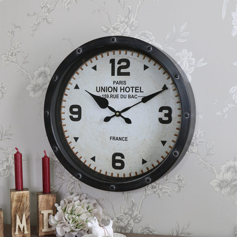 Large Brown Metal Wall Clock Melody Maison