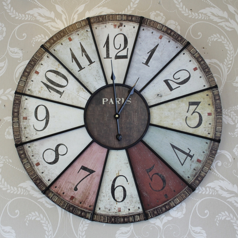 Large Colour Paris Wall Clock Bedroom Hallway Kitchen Shabby Retro Chic Gift