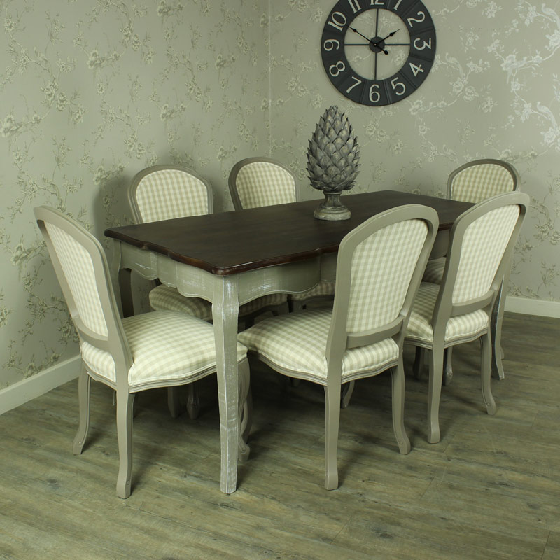 Large grey dining table 6 padded chairs bundle shabby - Gray shabby chic furniture ...