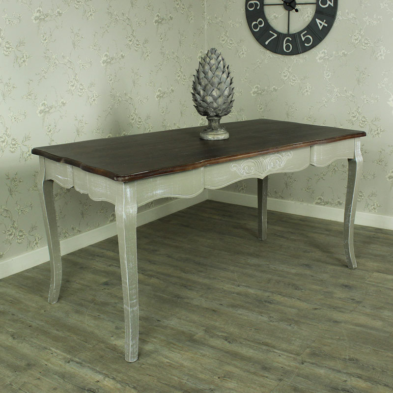 Large grey wash dining table dark wood top shabby french for Large dark wood dining table