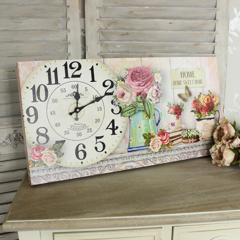 Large 'Home Sweet Home' Floral Wall Clock