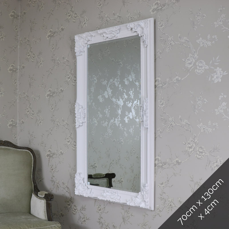 Large Ornate White Wall/Floor Mirror 70cm x 130cm