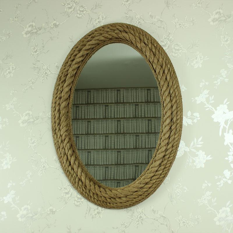 Grande da parete corda cornice specchio nautico vintage - Specchio ovale vintage ...