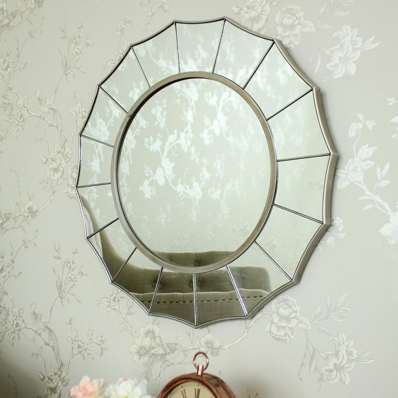 Silver Sunburst Art Deco Wall Mirror Shabby Ornate Chic