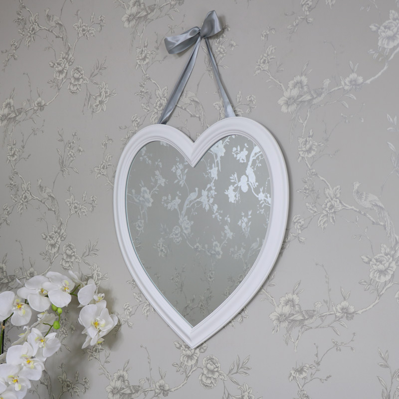 Large Vintage White Heart Wall Mirror 59xm x 62cm