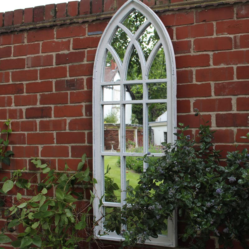 Large White Arched Window Outdoor Mirror