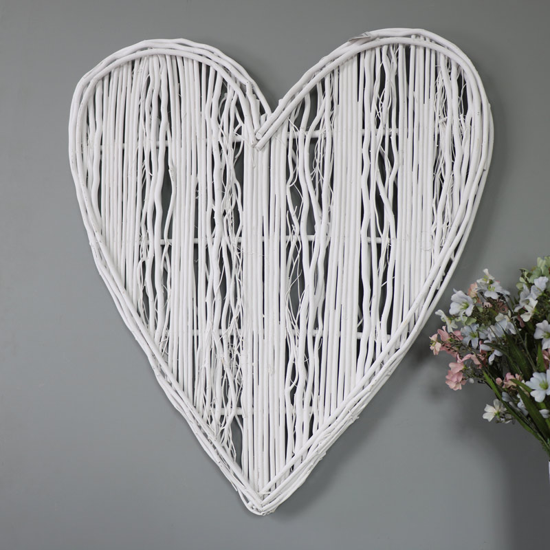 Large White Wicker Wall Hanging Heart Decoration Melody