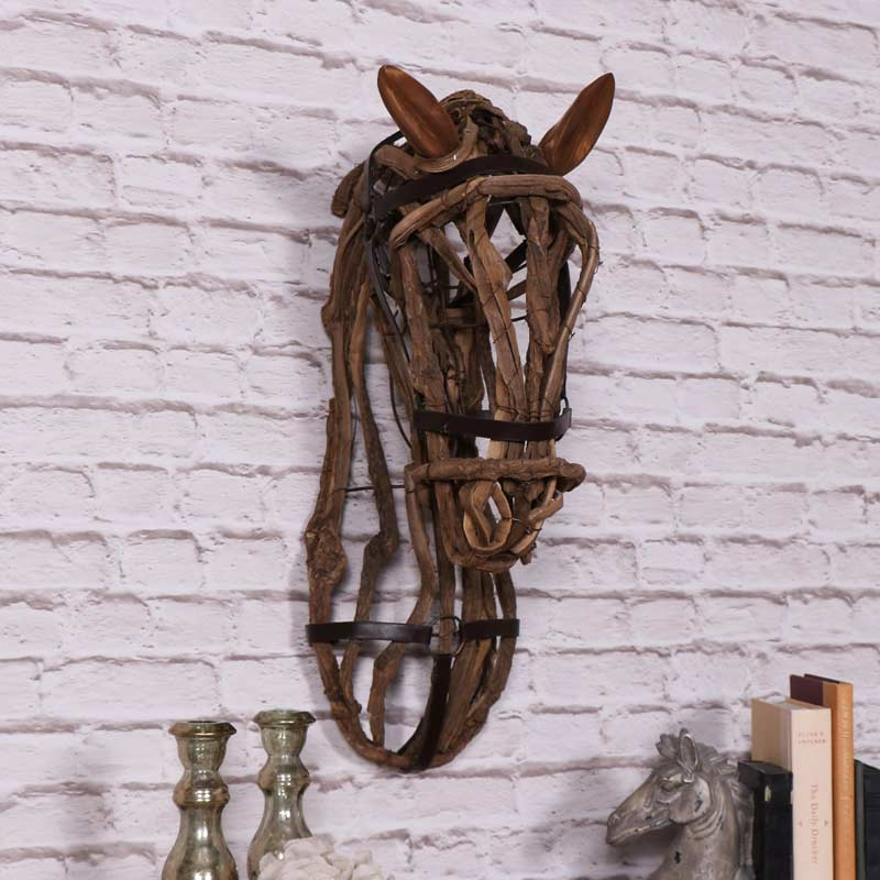 Large Wooden Horse Head Melody Maison 174