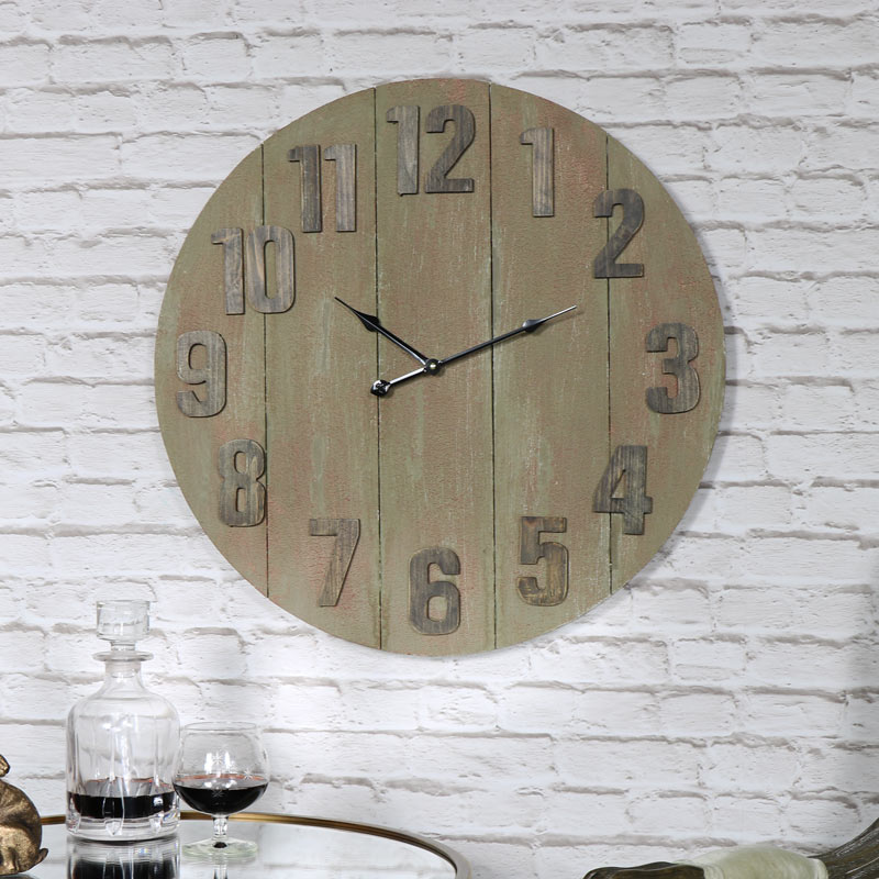 Large Wooden Industrial Style Wall Clock Melody Maison 174