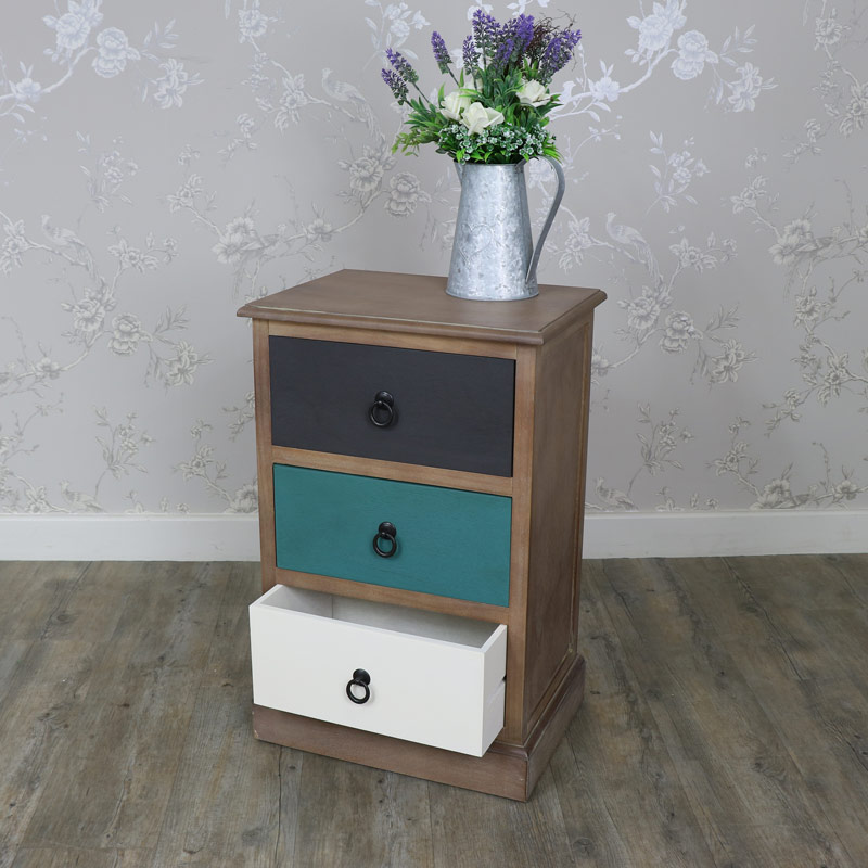 Natural Drift Wood 3 Drawer Bedside Chest - Loft Living Range