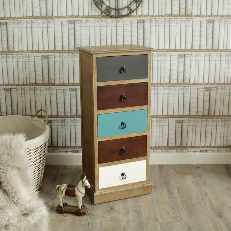 Natural Drift Wood 5 Drawer Tallboy chest of Drawers - Loft Living Range