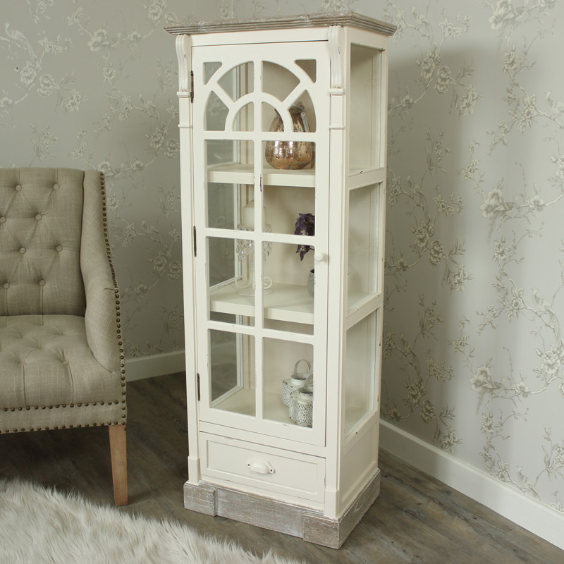 Cream Glazed Display Cabinet with Drawer - Lyon Range