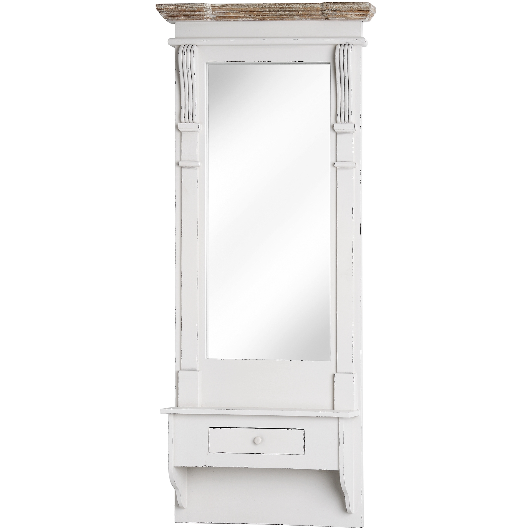 lyon range full length mirror with shelf and drawer
