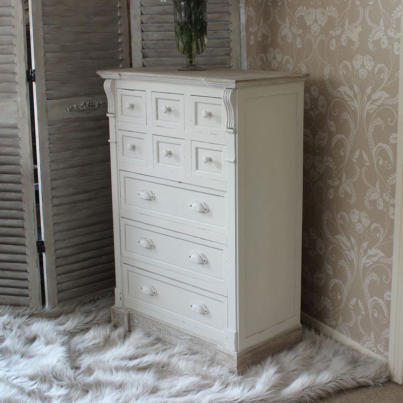 Cream Storage Chest with Nine Drawers - Lyon Range