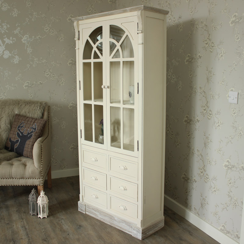 Cream Tall Glazed Unit with 6 Drawer Storage - Lyon Range