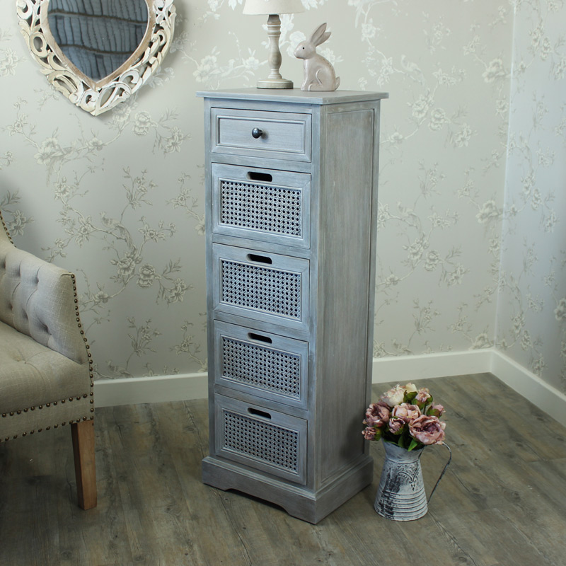 Milan Range - Grey 5 Drawer Tallboy Unit