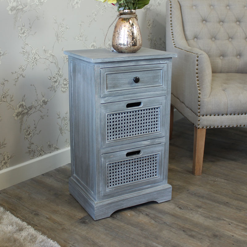 Milan Range - Grey Three Drawer Bedside Table Storage Chest