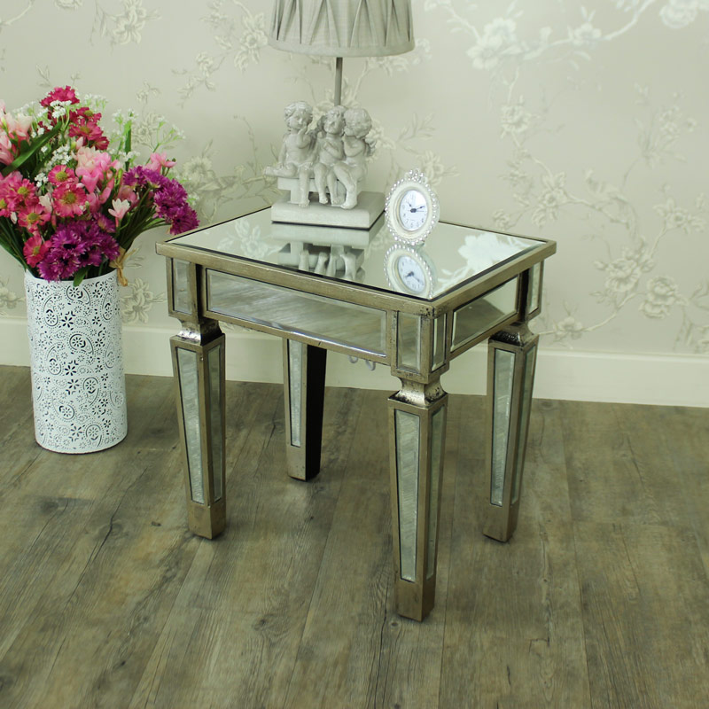 Mirrored Lamp Bedside Table Shabby French Chic Ornate Living Room Bedroom Home