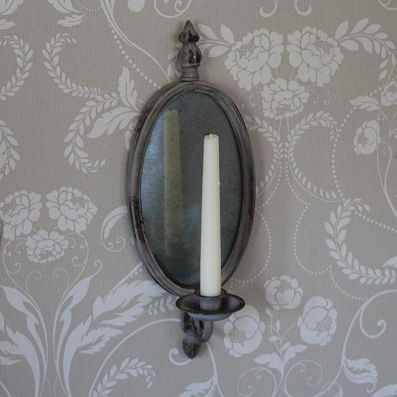 Mirrored Wall Sconces Candle Holder : Mirrored Wall Sconce with Candle Holder - Melody Maison