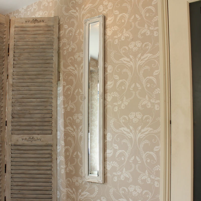 Narrow ornate antique white wall mirror melody maison for Narrow mirror