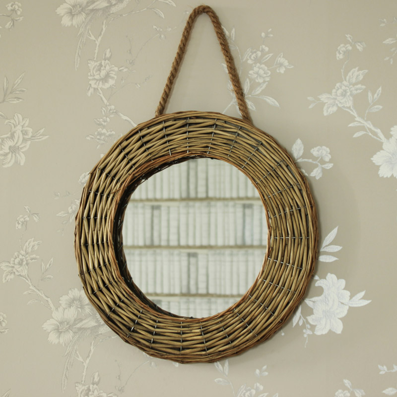 natural brown wicker wall mirror shabby vintage chic bathroom bedroom home gift ebay