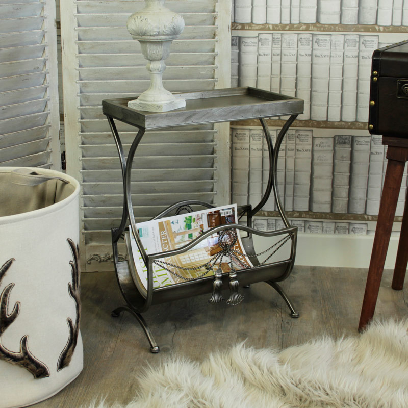 Ornate Magazine Rack Side Table