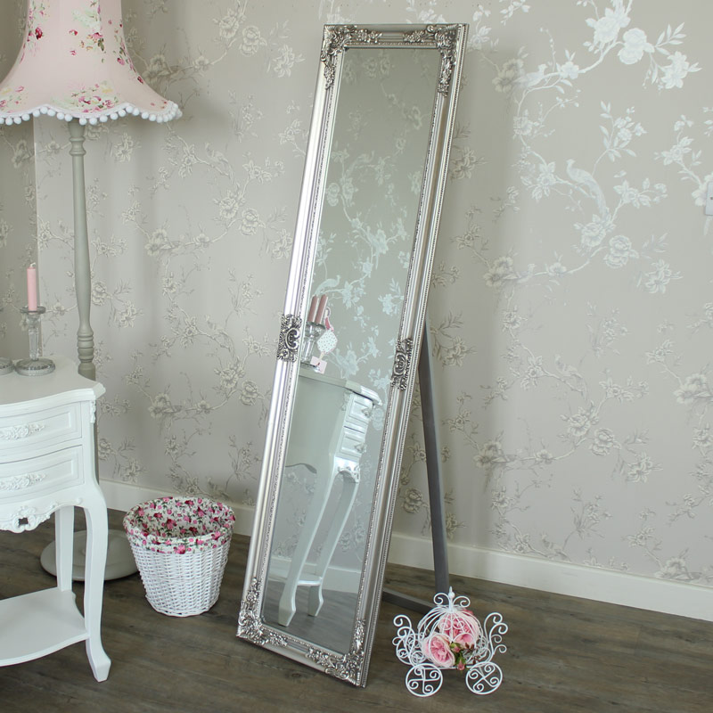 Tall slim ornate silver cheval mirror shabby french chic for Standing mirror for bedroom