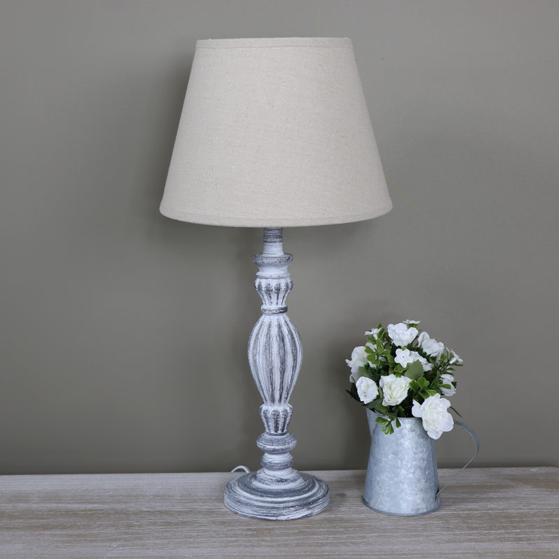 Ornate Vintage Grey Washed Wooden Table Lamp