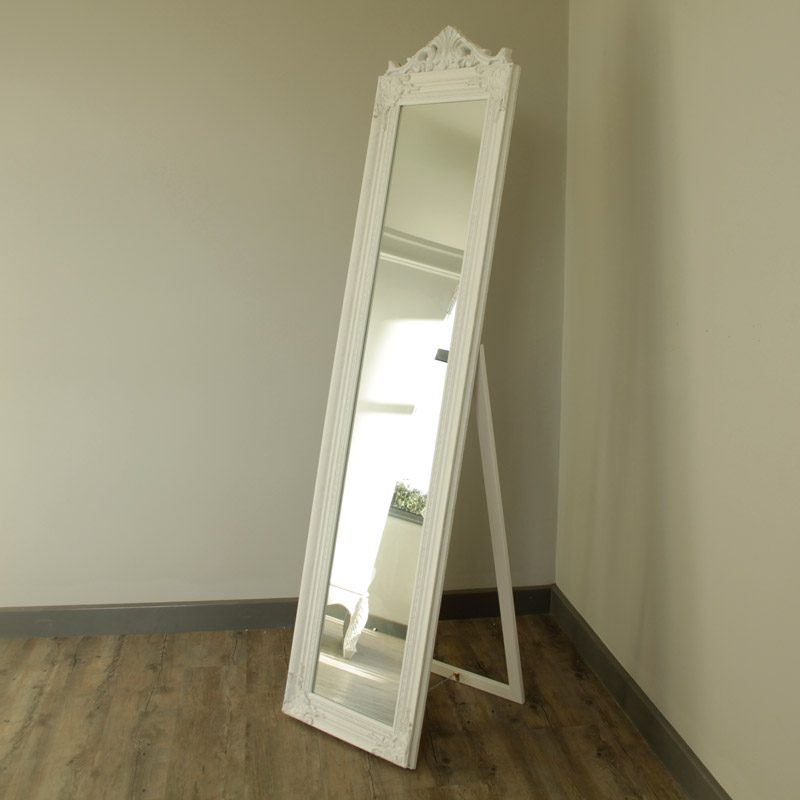Ornate white freestanding tall cheval mirror bedroom for Standing mirror for bedroom