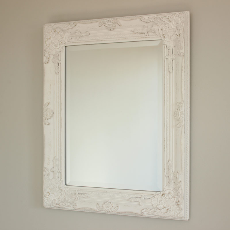 Ornate White Wall Mirror
