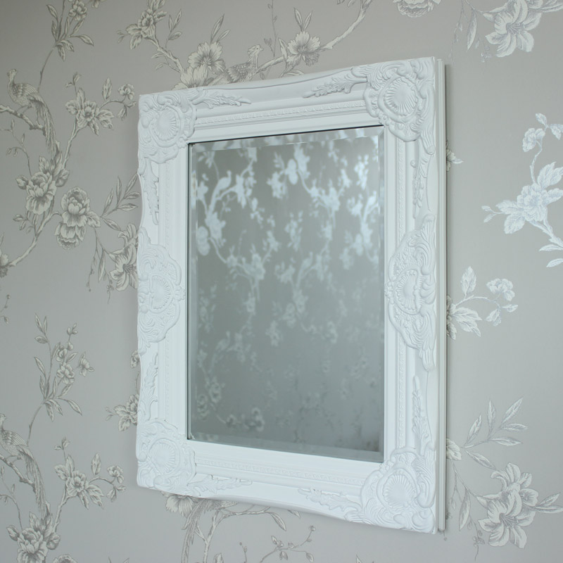 ornate white wall mirror shabby vintage chic bedroom