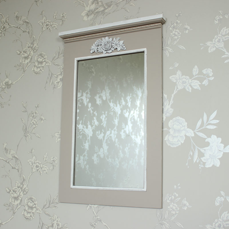 Grey Wooden Ornate Floral Wall Mounted Vanity Mirror