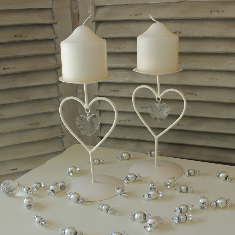 Pair of Cream Heart Candle Sticks